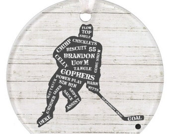 Boys Ceramic Hockey Ornament Christmas Ornament Personalized Hockey Ornament Hockey Personalized Ornament Hockey RyElle Christmas Gift