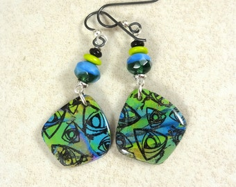 Blue and Green Earrings, Bright Blue and Chartreuse Green with Black, Abstract Artisan Charm Earrings, Niobium Hypo-allergenic Ear Wires