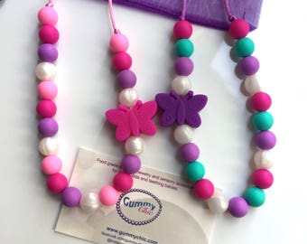 Butterfly Silicone Toddler Necklace -  Butterfly Teething Necklaces - Sensory jewelry - Fiddle necklace - Sensory Necklace - Teething Beads