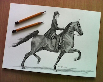 Saddleseat. Horse. Original pencil drawing. Size A4, Free worldwide shipping.