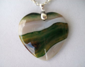 """Green and White Agate Geode Heart Pendant 2"""" long"""