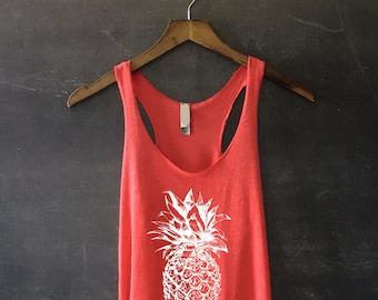 Pineapple Tank Top in Vintage Red - Pineapple Shirt - Pineapple TShirt - Fruit Shirt - Hawaiian Shirt - Summer Tank Top - Beach Tank
