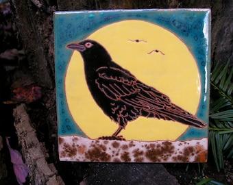 Tuile de Crow de pleine lune, commande - délai de 4 à 6 semaines - décoratif pour dosseret, surround cheminée, décoration murale