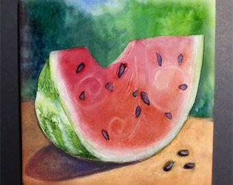 Watermelon Tile Trivet, Original Watercolor
