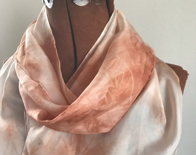 Madder Root - soft pale peach color - naturally dyed silk scarf