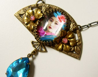 Geisha Necklace - Art Nouveau - Fan Shaped Necklace - Floral necklace - Turquoise, pink and Black - Sakura Necklace - Urban Gypsy - Aqua