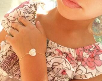 Freshwater pearl flower girl bracelet, Junior bridesmaids bracelet, childrens jewelry, flower girl jewelry