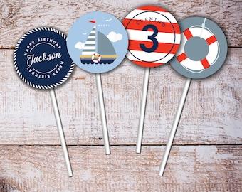 Nautical Cupcake topper, Sailor Birthday, Baby Shower, Doljanchi, Doljanchi clouds, Personalized, Birthday, Stripes, Life Saver, PRINTABLE