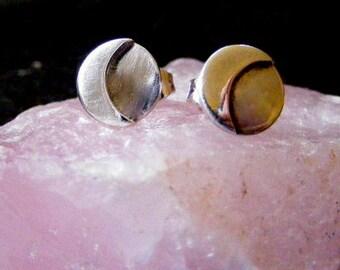 Silver Moon Stud Earrings Crescent Moon post earring