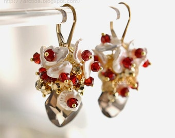 Goldschmuck Rauchquarz Citrin Pyrit Keshi Perlen Granat gold Ohrringe - Edelstein Bordeaux rote Granatapfel Granat Ohrringe - Lanlea