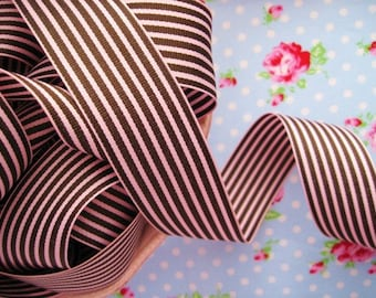 Striped Grosgrain Ribbon -  Chocolate Brown and Pink Frosting - 1 1/2 inch - 1 Yard