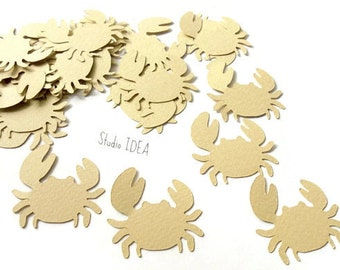 30 Large light Brown Crab #2 Cut outs, Confetti - Set of 30 pcs