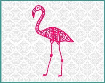CLN0588 Flamingo Zentangle Mandala Filigree Summer Beach SVG DXF Ai Eps PNG Vector Instant Download COmmercial Cut File Cricut Silhouette