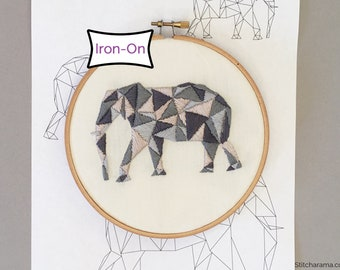 Geometric Elephant Embroidery Pattern • Iron On Embroidery Pattern Transfer
