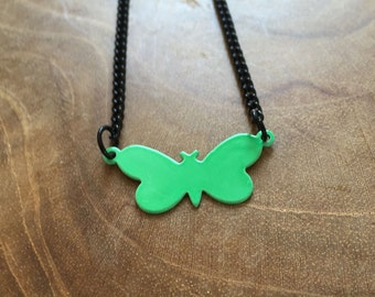 Green Butterfly - a cute necklace with a little butterfly. green, black, cute, animal, butterfly, little, tiny