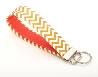 Gold Key Fob, Chevron Lanyard, Cute Key Chain - Gold and Coral - Gold Gifts