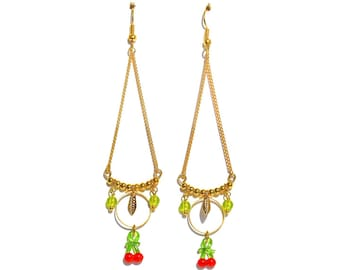 Cherry charm, ring and gold leaf earrings