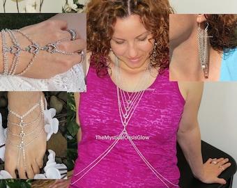 Music Festival Body Jewelry Set, Burning man Costume Jewelry, Custom Sized, Pair of barefoot sandals, pair of earrings, slave bracelet ring