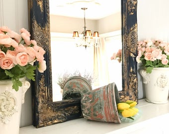Navy Blue and Gold Vanity Mirror, Shabby Chic Mirror, Farmhouse Decor