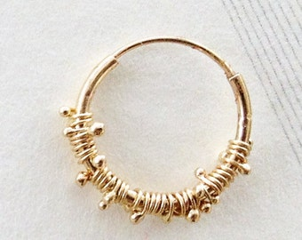 Joy. 14K Gold Hand Made Hoop Earring. Unique Gold Due Drops Earring. One Loop Earring. Recycled Gold. Eco Friendly. Dainty Sparkly Hoop.