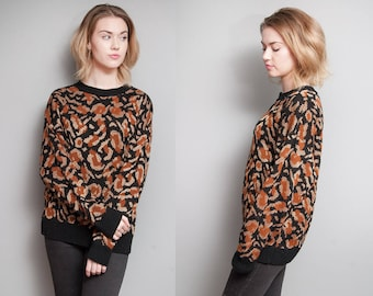 Vintage 1980's | Gold Metallic | Leopard | Pullover | Sweater | S/M
