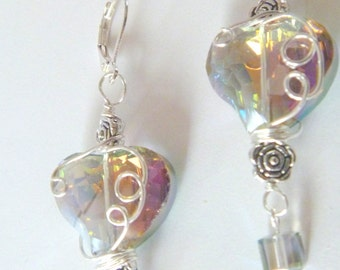 Crystal Heart Wire Wrapped Sterling Silver Earrings-  Discounted