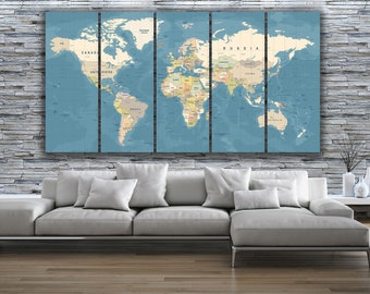 5 Panel World MAP CANVAS PRINT Home Decor  Box Framed Wall Art   Extra  Large   Ready To Hang  Z2345