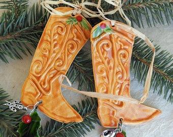 Ceramic Cowboy boot ornament