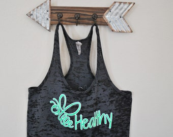 """Black and Green- Racer back Burn-Out Tank top (Next Level) with """"Bee Healthy"""" logo"""