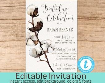 40th Birthday Invitation, Cotton Boll Invitation, Rustic Birthday Invitation, Fortieth Birthday, EDITABLE Invitation, Instant Download