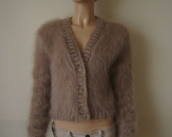 Made to order ! Hand knitted mohair sweater bolero shrug size M BEIGE