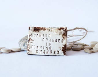 Brown Clay Necklace Gold Jewellery Rustic Jewelry Quote Pendant Woodland Necklace Car Accessories Motivational Jewelry Hippie Necklace