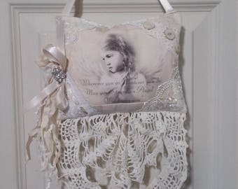 Sweet Child Angel Lavender Sachet Shabby Chic Vintage Lace & Buttons