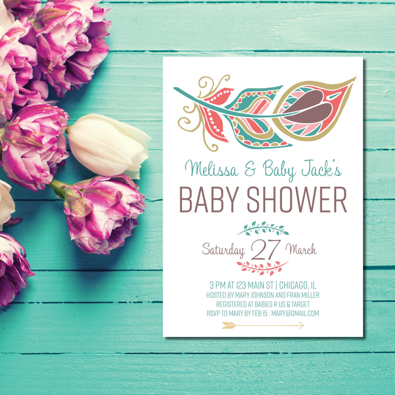 Boho Chic Baby Shower Invitations Boho Hippie Baby Shower