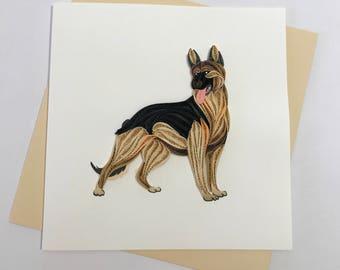 German Shepherd Dog Quilling Greeting Card, Quilling Cards, Birthday Cards, Greeting Cards, Handmade Greeting Card, Handmade Card