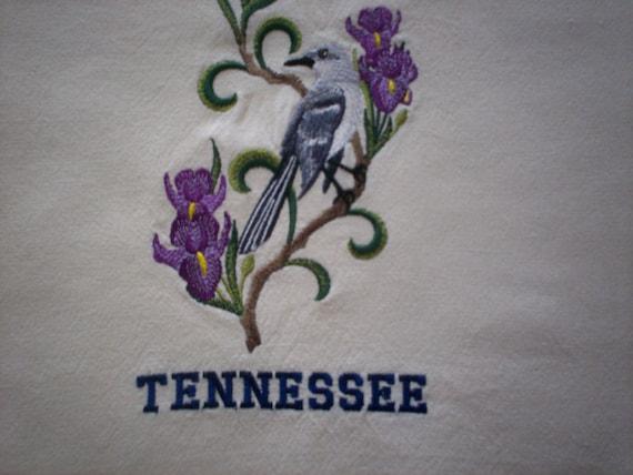 Tennessee Mockingbird And Iris Embroidered Tea Towel