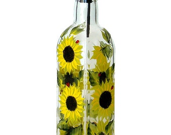 Hand Painted Glass Bottle Olive Oil Dispenser Sunflowers Ladybugs Hand Painted Glassware Painted Oil Vinegar Soap Dispensers Yellow Black