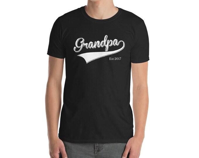 Grandpa Shirt father's day Gift | Grandpa est 2017 Short-Sleeve Unisex T-Shirt for grandpa