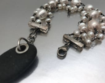 Adjustable Three strand freshwater pearl, beach stone and sterling bracelet in your size