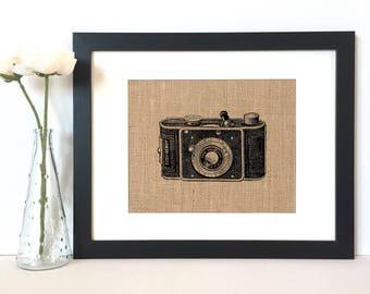 Vintage Camera Burlap Print // Rustic Home Decor