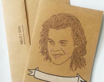 Harry Styles/ One Direction/ 1D/ Illustrated/ Custom Message/ Greeting Card