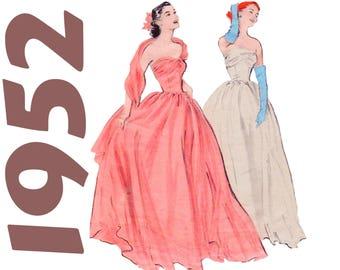 """Vintage Ball Gown Strapless Gown 1950s Wedding Dress BUTTERICK 6011 bust 30"""" Fit and Flare Gown Debutante Gown Dress With Attached Stole"""