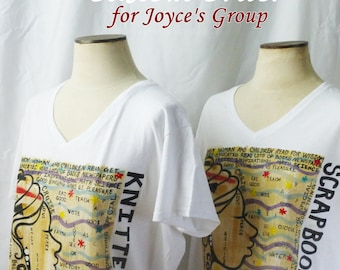 CUSTOM ORDER for Knitters/Scrapbookers Hand Painted T'Shirt (Joyce's group)