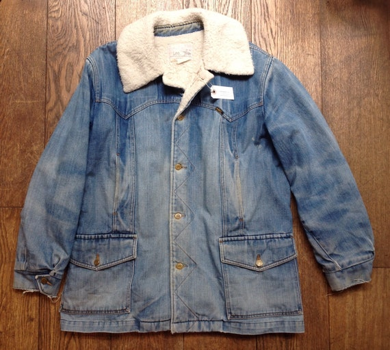 """Vintage 1970s 70s Lee Storm Rider shearling sheepskin lined long denim jacket sanforized workwear faded made in USA 50"""" chest"""