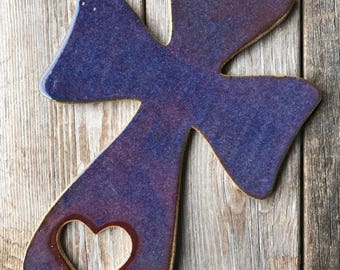 Wall Decor, Pottery Cross Wall Hanging, Christian Gift, Gifts for Women, Blue Cross, Gifts for Her, Gifts under 25, Cross with Heart