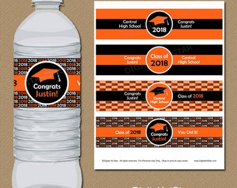 Personalized Graduation Water Bottle Wraps - Class of 2018 Printable Water Bottle Labels - Custom Colors - Orange Black Party Decorations G1