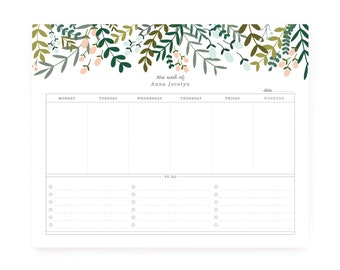 Garden Wreath Personalized Weekly Planner Notepad, Custom Daily Planner Pad with To Do List and Calendar