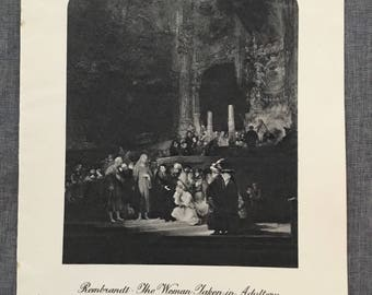 Rembrant. The woman taken in adultery. 1920's antique print