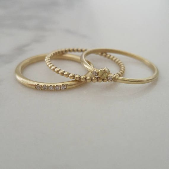 Delicate wedding band set dainty stacking rings thin gold