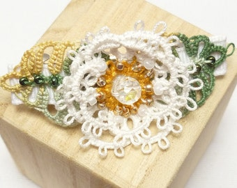 Tatting lace Barrette flower with leaves -Rosette Barrette shuttle tatted hair accessory handmade and one of a kind white and green wedding